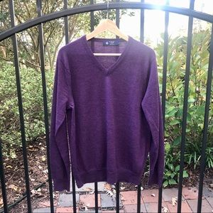 J Crew Medium Purple Merino Wool V-neck Sweater